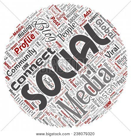 Conceptual social media networking or communication web marketing technology round circle red word cloud isolated on background. A tagcloud for global community worldwide concept or advertising