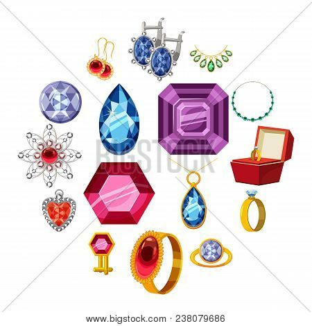 Jewelry Collection Icons Set. Cartoon Illustration Of 16 Jewelry Collection Items Vector Icons For W