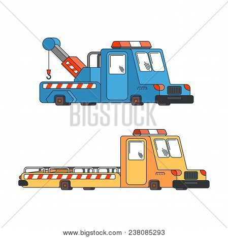 Tow Truck Set. Wrecker For Evacuates Auto. Help On Road. Vector Illustration
