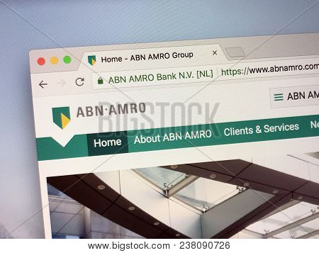 Amsterdam, The Netherlands - March 27, 2018: Homepage Of Abn Amro Bank, A Dutch Bank With Headquarte