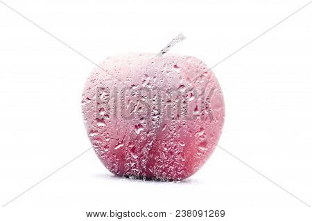 Frosted Apple.  Double Exposure Of An Apple And Frost.  Concept Of Good Health And Deep Freeze .