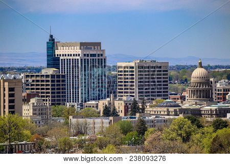 Downtown Cityscape Of Boise, Idaho In The Spring