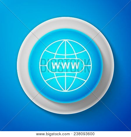 White Go To Web Icon Isolated On Blue Background. Www Icon. Website Pictogram. World Wide Web Symbol