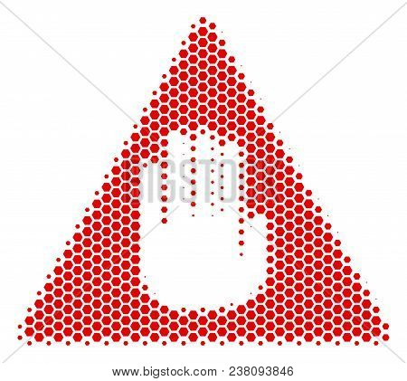 Halftone Hexagon Caution Icon. Pictogram On A White Background. Vector Pattern Of Caution Icon Made