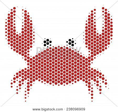 Halftone Hexagon Crab Icon. Pictogram On A White Background. Vector Composition Of Crab Icon Designe