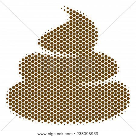 Halftone Hexagon Crap Icon. Pictogram On A White Background. Vector Concept Of Crap Icon Constructed