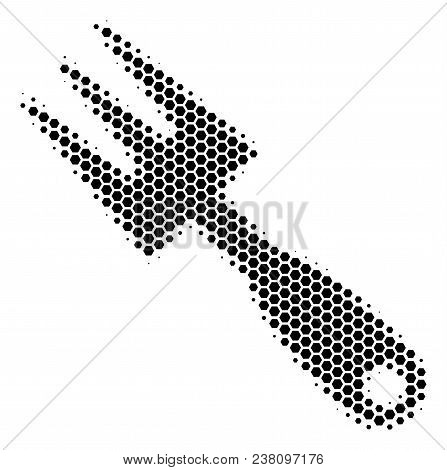 Halftone Hexagonal Cultivator Rake Icon. Pictogram On A White Background. Vector Collage Of Cultivat