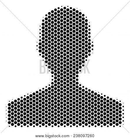 Halftone Hexagon Customer Icon. Pictogram On A White Background. Vector Collage Of Customer Icon Org