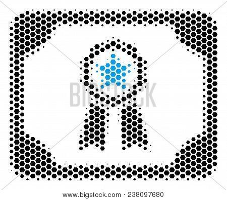 Halftone Hexagonal Diploma Icon. Pictogram On A White Background. Vector Composition Of Diploma Icon