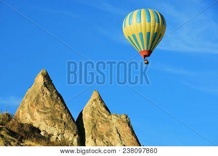 Hot Air Balloon Flight Over Cappadocia - Balloon Flight. Cappadocia Is Known Around The World As One