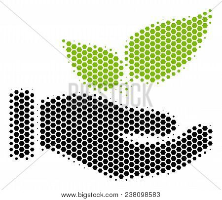 Halftone Hexagon Eco Startup Hand Icon. Pictogram On A White Background. Vector Pattern Of Eco Start