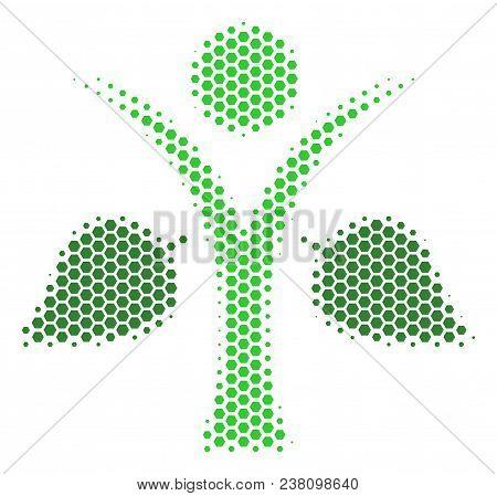 Halftone Hexagon Ecology Man Icon. Pictogram On A White Background. Vector Mosaic Of Ecology Man Ico