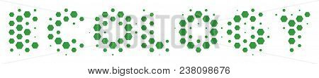 Halftone Hexagonal Ecology Text Icon. Pictogram On A White Background. Vector Pattern Of Ecology Tex