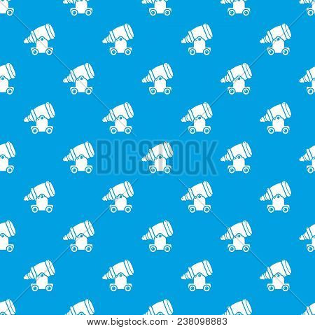 Ancient Cannon Pattern Vector Seamless Blue Repeat For Any Use