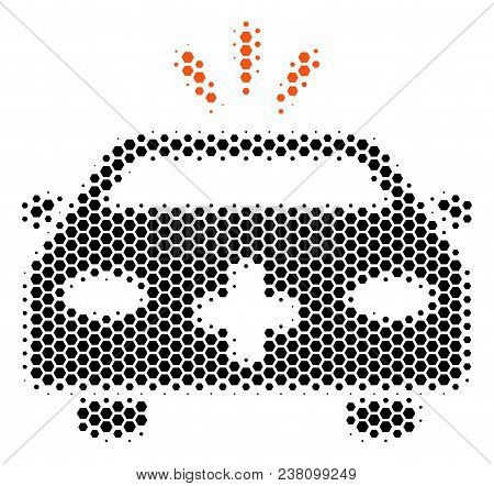 Halftone Hexagonal Emergency Car Icon. Pictogram On A White Background. Vector Collage Of Emergency