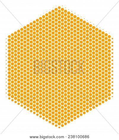 Halftone Hexagonal Filled Hexagon Icon. Pictogram On A White Background. Vector Composition Of Fille