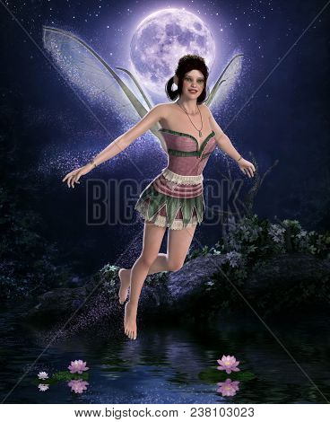 3d Render Of A Beautiful Night Fairy In Front Of A Full Moon Hovering Over A Pond