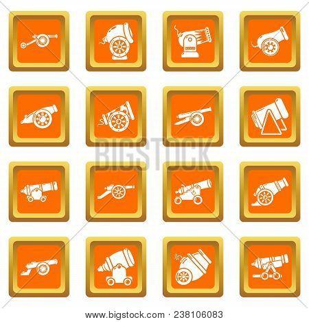 Cannon Retro Icons Set Vector Orange Square Isolated On White Background