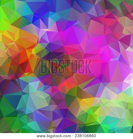 Square Abstract, Colorful, Multicolor And Iridescent Background Of Triangles
