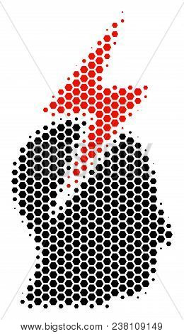 Halftone Hexagon Person Stress Strike Icon. Pictogram On A White Background. Vector Collage Of Perso