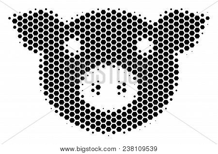 Halftone Hexagon Pig Head Icon. Pictogram On A White Background. Vector Concept Of Pig Head Icon Cre