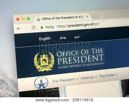 Amsterdam, The Netherlands - March 27, 2018: Official Homepage Of The Government Of The Afghanistan.