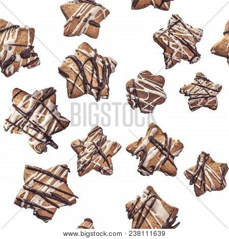 Seamless Texture Of Cookies Decorated With White And Black Chocolate