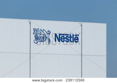 Anderson - Circa April 2018: Nestle Manufacturing Plant. Nestle Produces Coffee-mate, Nesquick, And