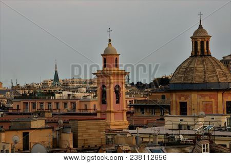 A View Of The Spires, Domes And Towers Across The Rooftops Of Genoa