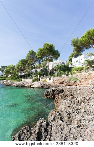 Cala D'or, Mallorca - A Rocky Coastline And And Beautiful Trees At The Beach Of Cala D'or