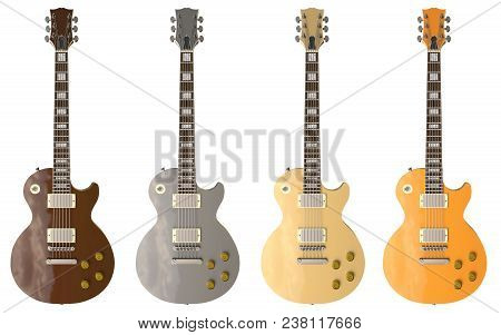 Set Of 4 Color Stylish Electric Guitars On White Background. 3d Rendering