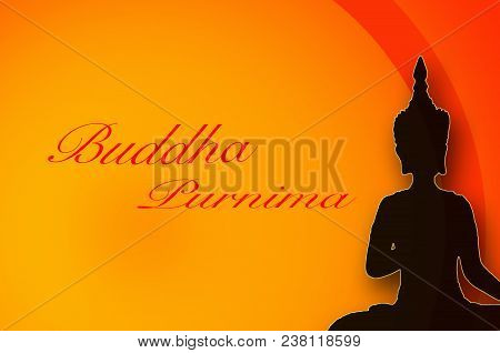 Greeting Card For Buddha Purnima With Buddha Silhouette
