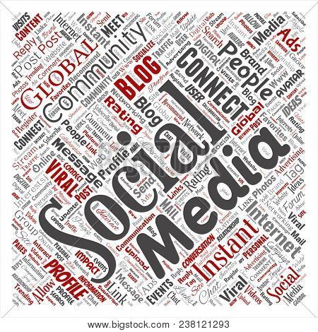 Conceptual social media networking or communication web marketing technology square red word cloud isolated on background. A tagcloud for global community worldwide concept or advertising