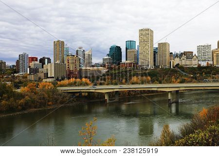 An Edmonton City Center With Colorful Aspen In Fall