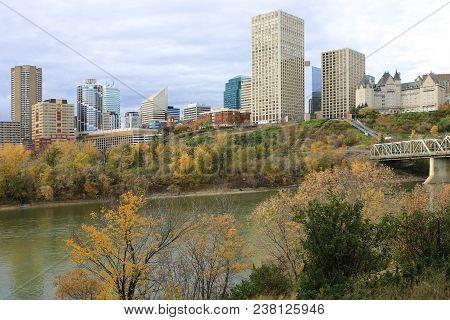 An Edmonton City Center With Colorful Aspen In Autumn