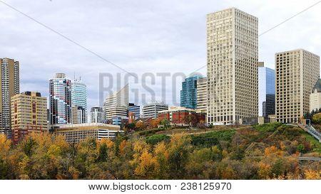 An Edmonton, Canada Cityscape With Colorful Aspen In Autumn