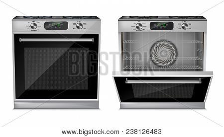 Vector 3d Realistic Compact Oven, Gas Stove With Open And Close Door Isolated On White Background. H