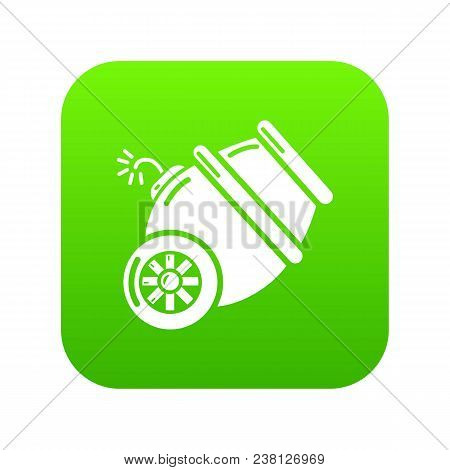 Ship Cannon Icon Green Vector Isolated On White Background