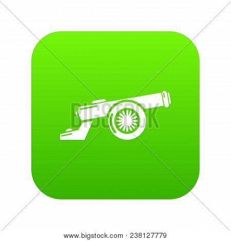 Cast-iron Cannon Icon Green Vector Isolated On White Background