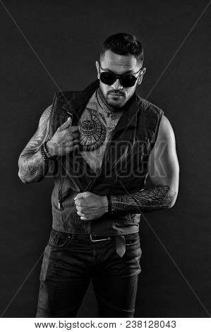 Tattooed Man In Fashionable Clothes. Muscular Macho With Tattoo. Fashion Model In Sunglasses. Man Wi