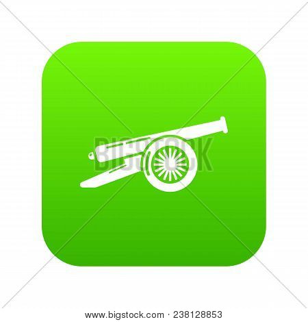 Enemy Cannon Icon Green Vector Isolated On White Background