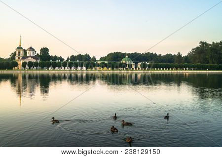 Evening serenity. Fragment of the State reserve museum Kuskovo with palace pond, former aristocratic summer country estate of the russian nobility of the 18th century. Moscow. Russia. poster