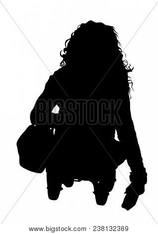 Woman in a wheelchair on a white background