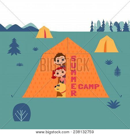 Kids And Dogs Summer Camp Concept. Cute Colorful Cartoon. Happy Children Boy, Girl, Dog Pet In Campi