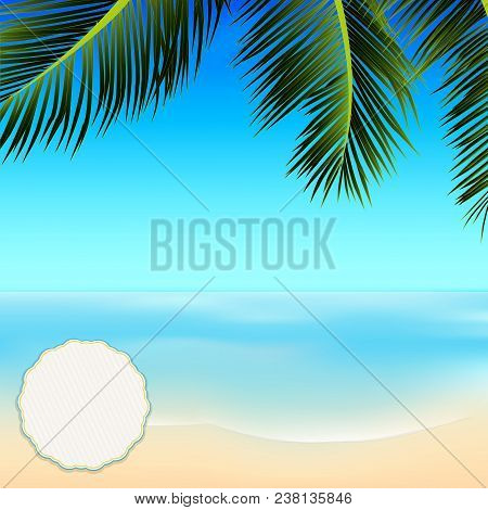Tropical Summer Scene With Palm Tree Top Frame Blue Sky Sea And Copy Space Blank Circular Label
