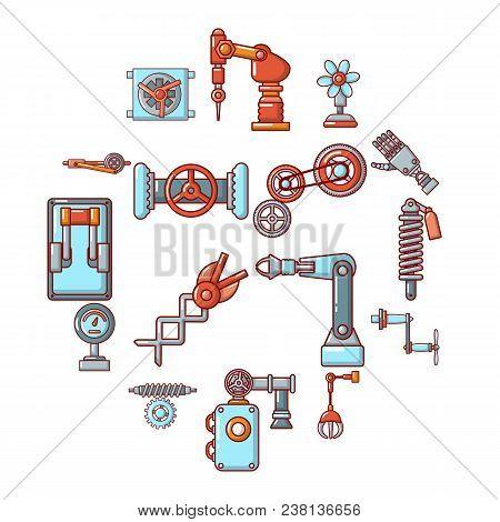 Technical Mechanisms Icons Set. Cartoon Illustration Of 16 Technical Mechanisms Vector Icons For Web