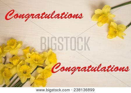 Congratulations Calligraphy Lettering Text Card With. Template For Greetings, Congratulations, House