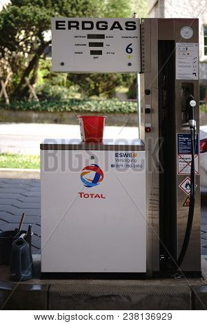 Taunusstein-wehen, Germany - April 21: A Gas Pump For Refueling Natural Gas At A Total Gas Station O