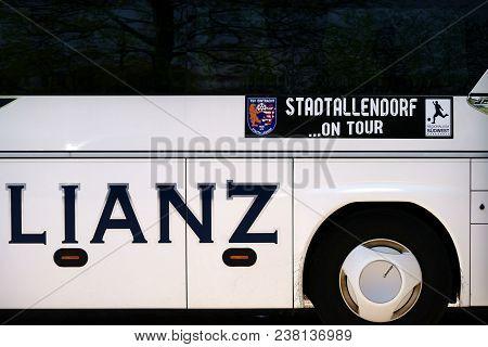 Mainz, Germany - April 14: The Team Bus Of The Football Club Tsv Eintracht Stadtallendorf In An Away