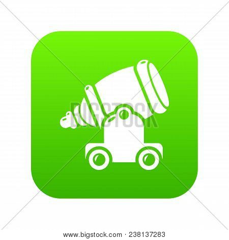 Ancient Cannon Icon Green Vector Isolated On White Background